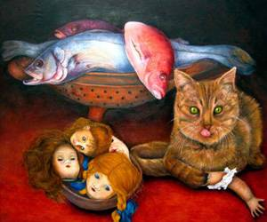 Painting of cats and dolls and fish