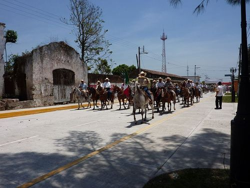 Horses passing old building