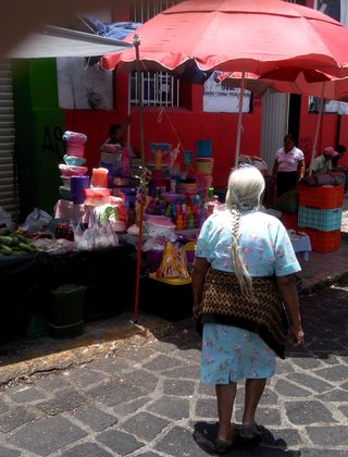 Woman and vender san jose mercado