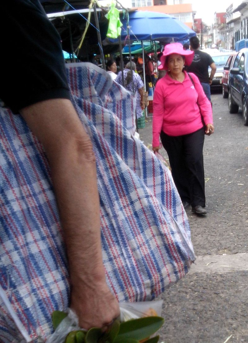 Woman in bright pink and jim's arm at san jose mercado