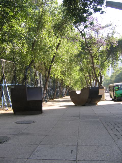 Semicircularandsquarebench and embassy fence